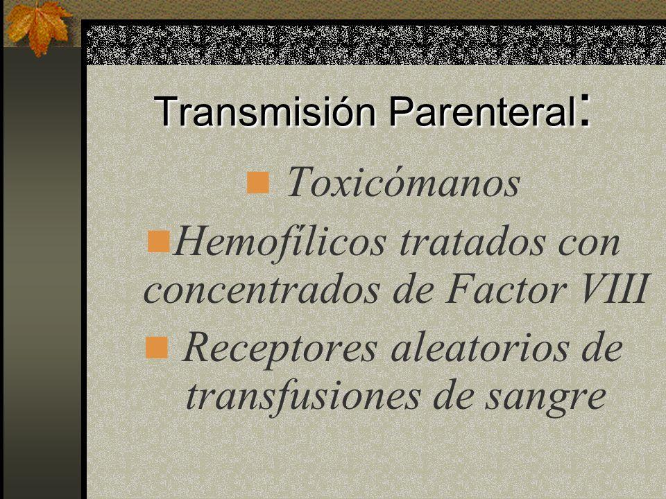 Vías Principales de la Transmisión de VIH : Contacto Sexual Inoculación Parenteral Paso de madre a recién nacido