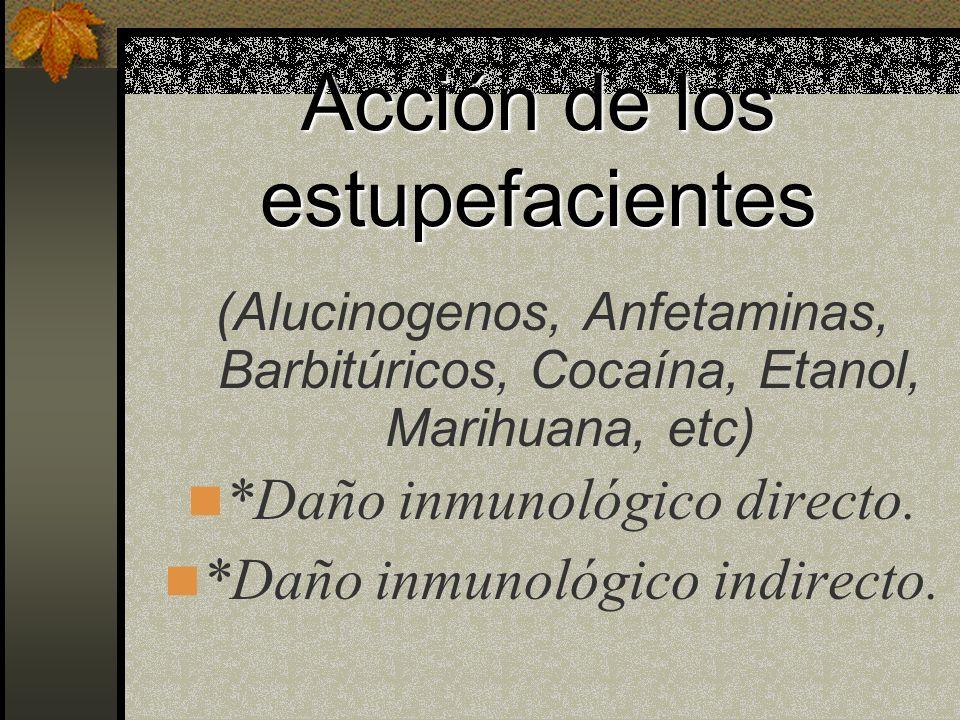 Acción de los estupefacientes Alucinogenos, Anfetaminas, Barbitúricos, Cocaína, Etanol, Marihuana.