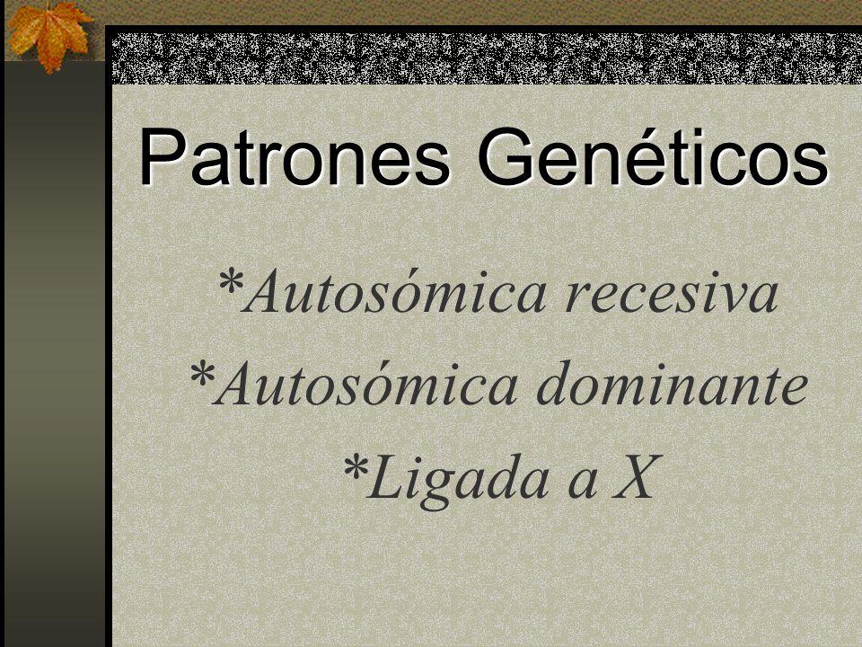 Patrones Genéticos *Autosómica recesiva *Autosómica dominante *Ligada a X