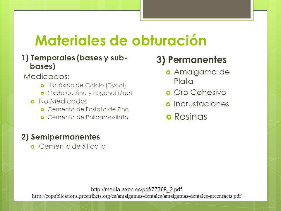 Materiales de obturación 1) Temporales (bases y sub- bases) Medicados: Hidróxido de Calcio (Dycal) Oxido de Zinc y Eugenol (Zoe) No Medicados Cemento