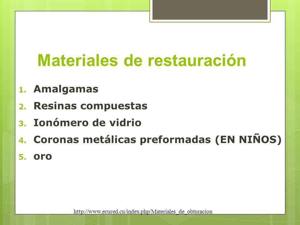 Materiales de restauración 1. Amalgamas 2. Resinas compuestas 3. Ionómero de vidrio 4. Coronas metálicas preformadas (EN NIÑOS) 5. oro http://www.ecur