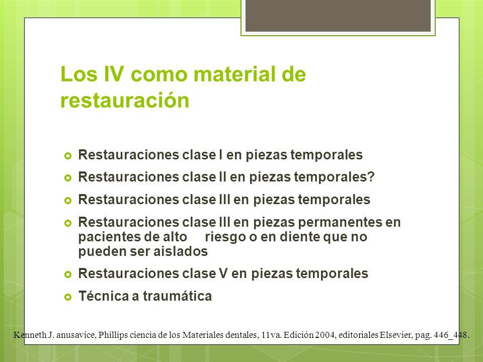 Los IV como material de restauración Restauraciones clase I en piezas temporales Restauraciones clase II en piezas temporales? Restauraciones clase II