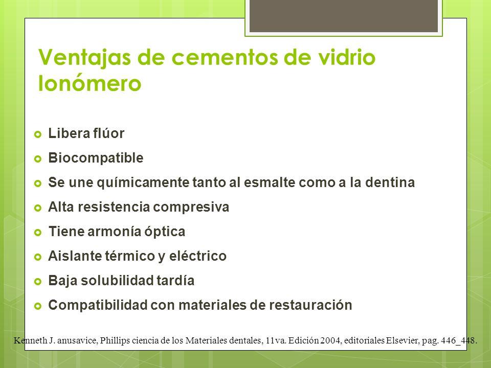 Ventajas de cementos de vidrio Ionómero Libera flúor Biocompatible Se une químicamente tanto al esmalte como a la dentina Alta resistencia compresiva
