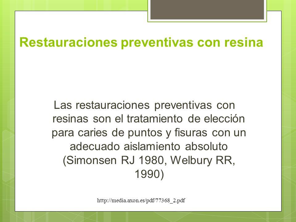 Restauraciones preventivas con resina Las restauraciones preventivas con resinas son el tratamiento de elección para caries de puntos y fisuras con un