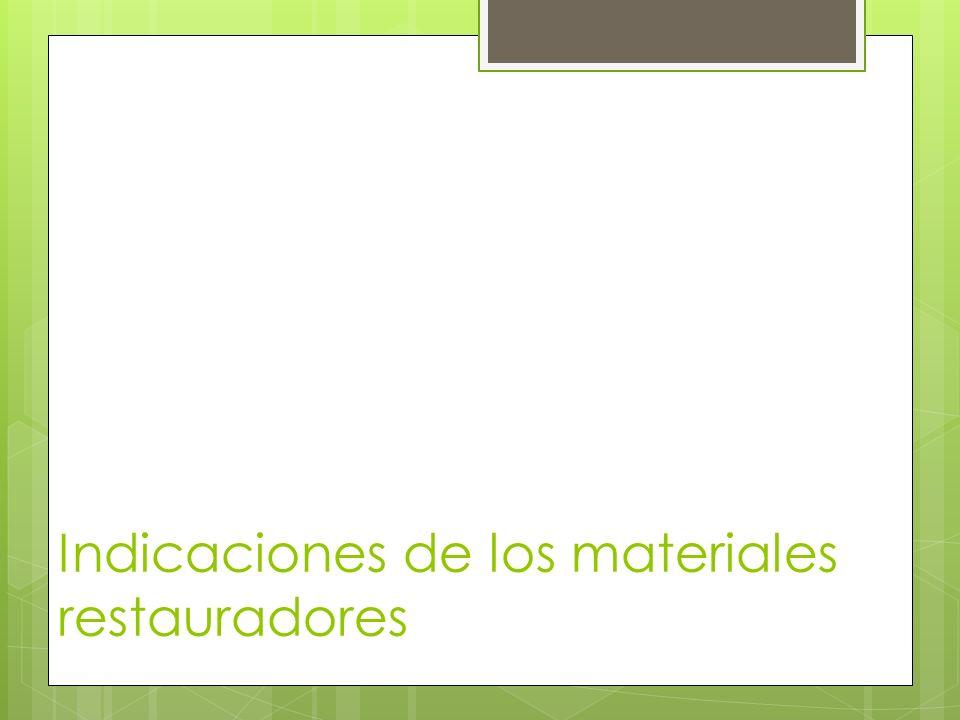 Indicaciones de los materiales restauradores