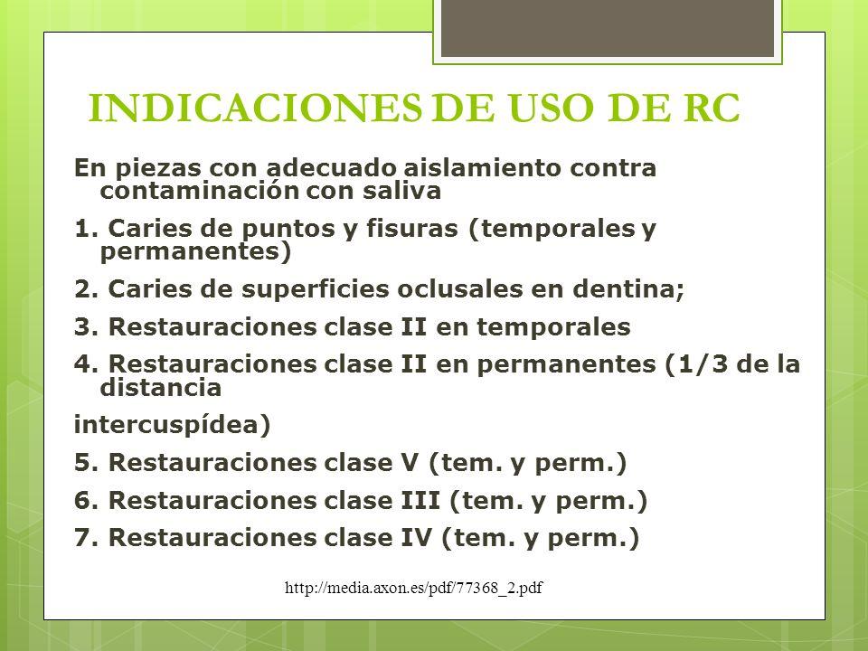 INDICACIONES DE USO DE RC En piezas con adecuado aislamiento contra contaminación con saliva 1. Caries de puntos y fisuras (temporales y permanentes)