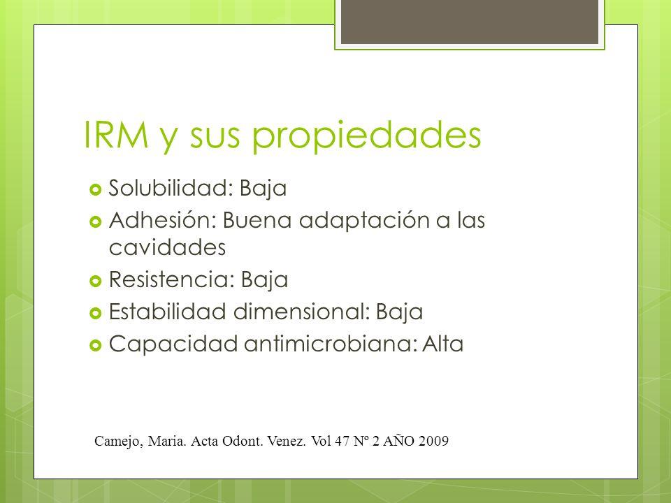 IRM y sus propiedades Solubilidad: Baja Adhesión: Buena adaptación a las cavidades Resistencia: Baja Estabilidad dimensional: Baja Capacidad antimicro