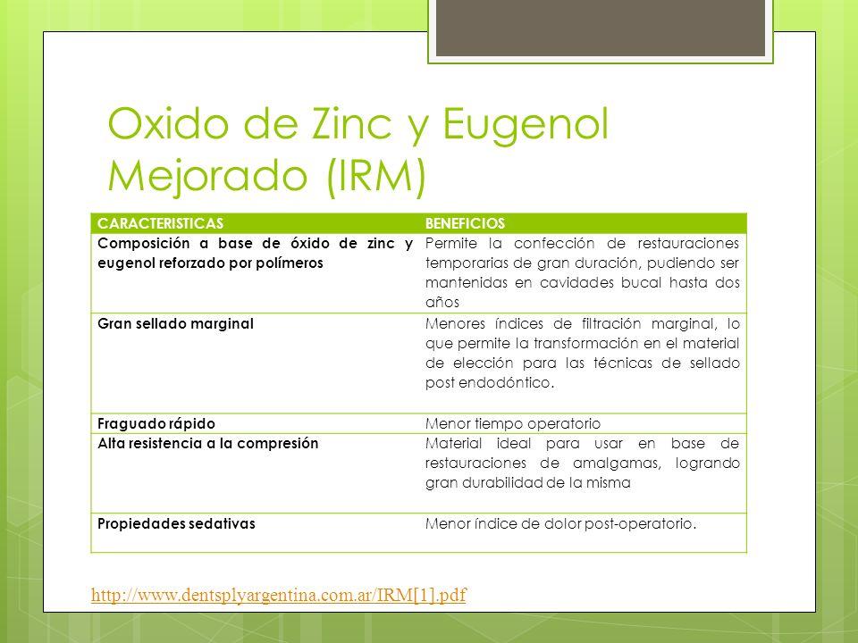 Oxido de Zinc y Eugenol Mejorado (IRM) CARACTERISTICASBENEFICIOS Composición a base de óxido de zinc y eugenol reforzado por polímeros Permite la conf