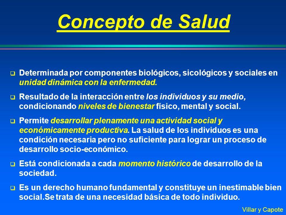 Determinada por componentes biológicos, sicológicos y sociales en unidad dinámica con la enfermedad. Resultado de la interacción entre los individuos