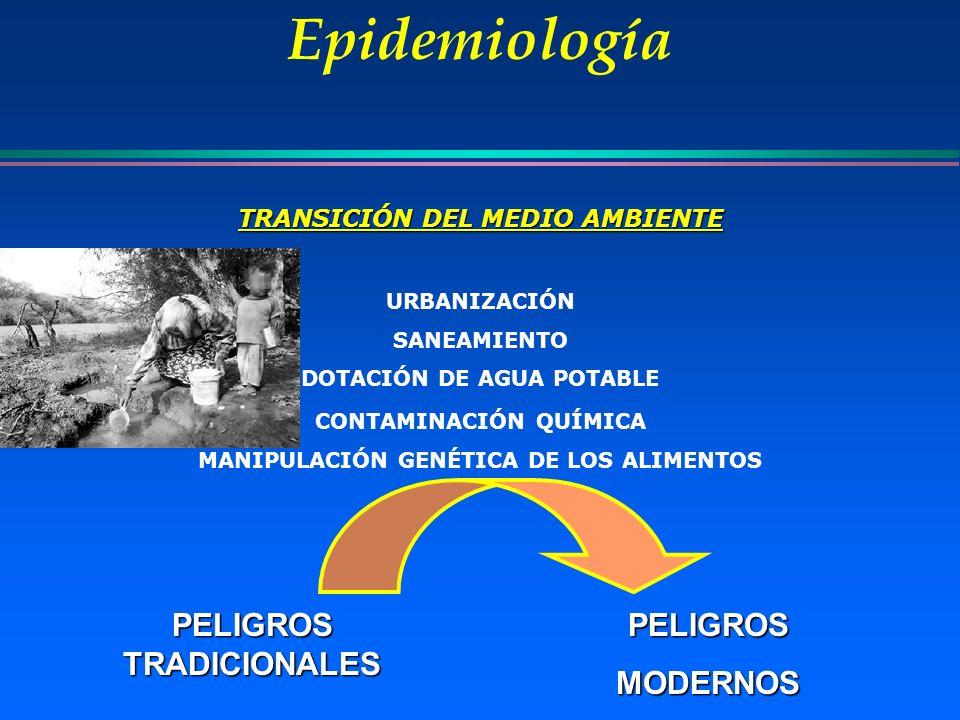 Epidemiología PELIGROS TRADICIONALES PELIGROSMODERNOS TRANSICIÓN DEL MEDIO AMBIENTE URBANIZACIÓN SANEAMIENTO DOTACIÓN DE AGUA POTABLE CONTAMINACIÓN QU