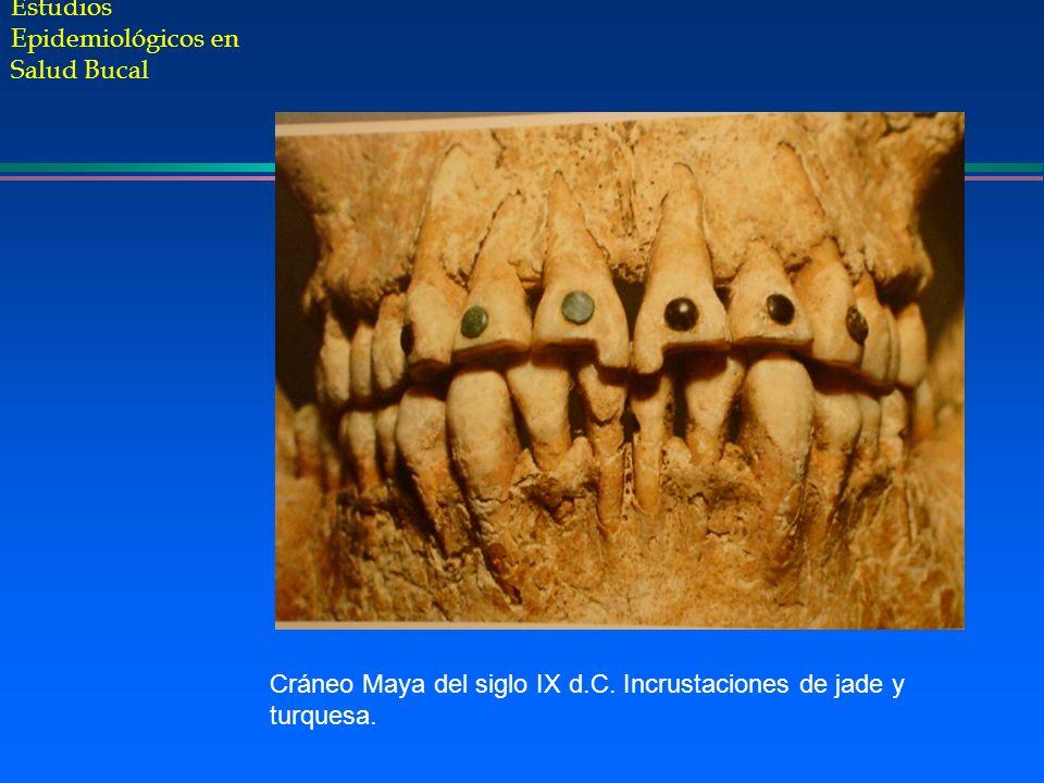 Estudios Epidemiológicos en Salud Bucal Cráneo Maya del siglo IX d.C. Incrustaciones de jade y turquesa.