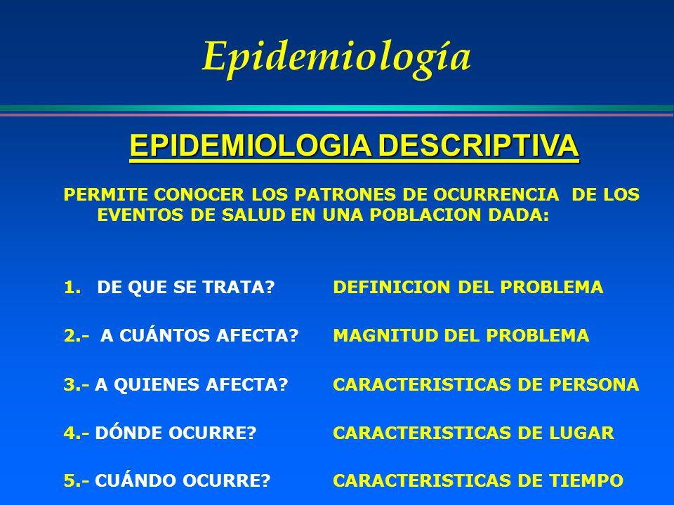 Epidemiología EPIDEMIOLOGIA DESCRIPTIVA PERMITE CONOCER LOS PATRONES DE OCURRENCIA DE LOS EVENTOS DE SALUD EN UNA POBLACION DADA: 1.DE QUE SE TRATA?DE