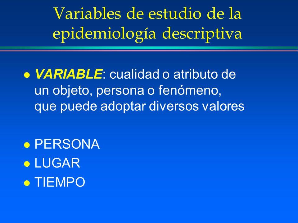 Variables de estudio de la epidemiología descriptiva l VARIABLE: cualidad o atributo de un objeto, persona o fenómeno, que puede adoptar diversos valo