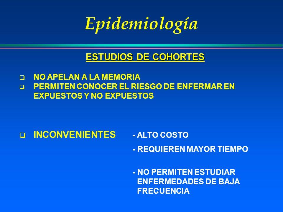 Epidemiología NO APELAN A LA MEMORIA PERMITEN CONOCER EL RIESGO DE ENFERMAR EN EXPUESTOS Y NO EXPUESTOS INCONVENIENTES - ALTO COSTO - REQUIEREN MAYOR
