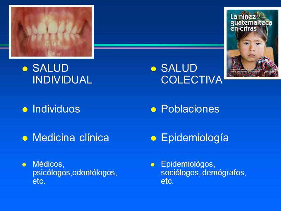 l SALUD INDIVIDUAL l Individuos l Medicina clínica l Médicos, psicólogos,odontólogos, etc. l SALUD COLECTIVA l Poblaciones l Epidemiología l Epidemiol