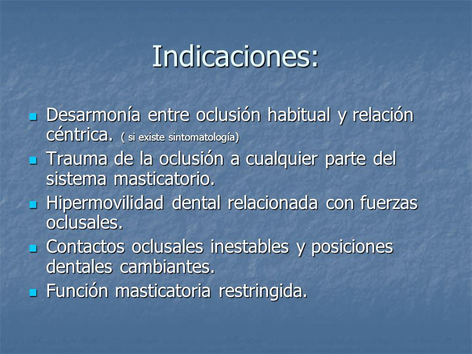 Indicaciones: Desarmonía entre oclusión habitual y relación céntrica.