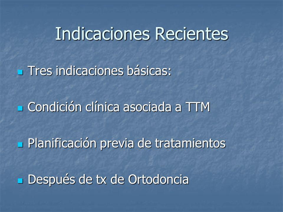Indicaciones Recientes Tres indicaciones básicas: Tres indicaciones básicas: Condición clínica asociada a TTM Condición clínica asociada a TTM Planificación previa de tratamientos Planificación previa de tratamientos Después de tx de Ortodoncia Después de tx de Ortodoncia
