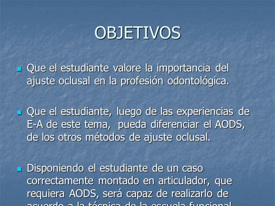 OBJETIVOS Que el estudiante valore la importancia del ajuste oclusal en la profesión odontológica.