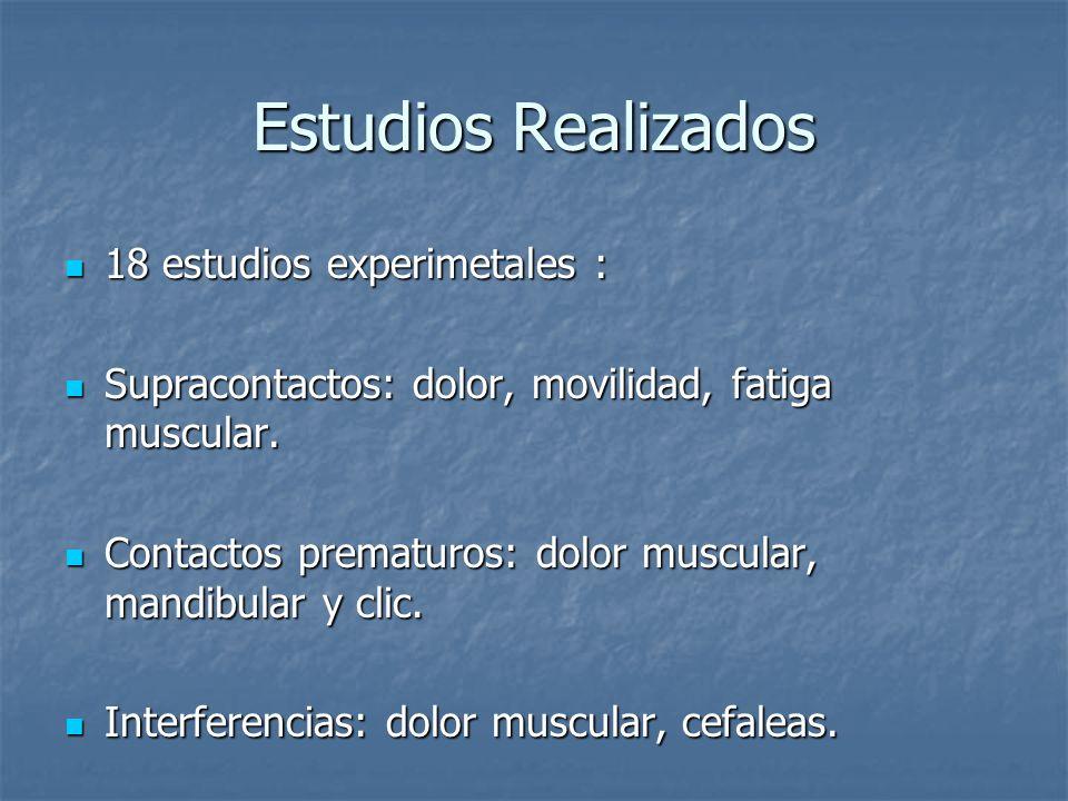 Estudios Realizados 18 estudios experimetales : 18 estudios experimetales : Supracontactos: dolor, movilidad, fatiga muscular.