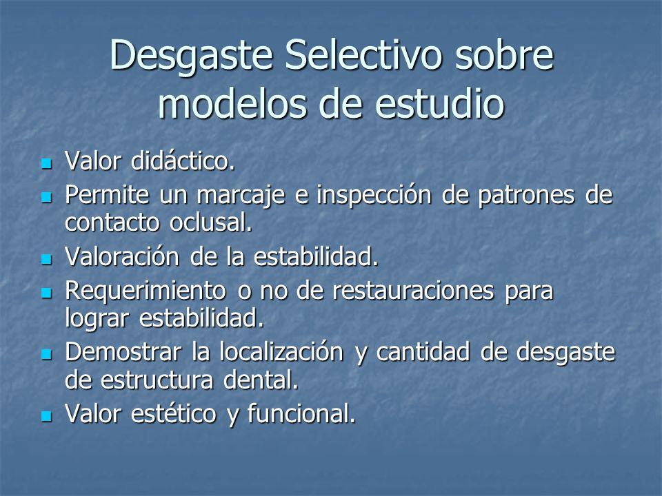 Desgaste Selectivo sobre modelos de estudio Valor didáctico.