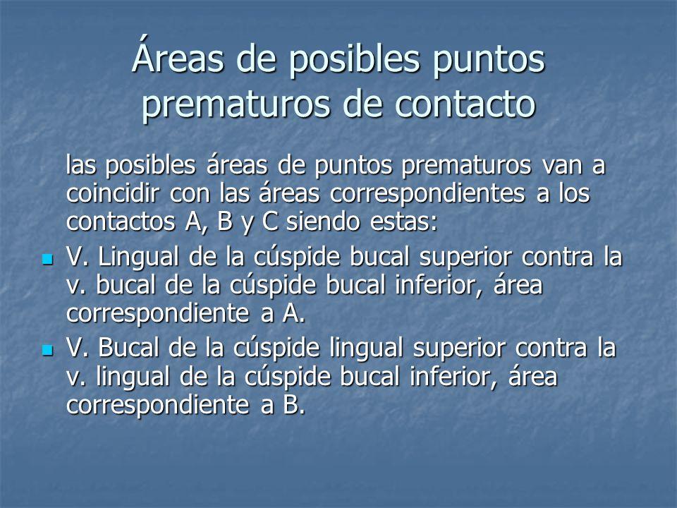 Áreas de posibles puntos prematuros de contacto las posibles áreas de puntos prematuros van a coincidir con las áreas correspondientes a los contactos A, B y C siendo estas: las posibles áreas de puntos prematuros van a coincidir con las áreas correspondientes a los contactos A, B y C siendo estas: V.
