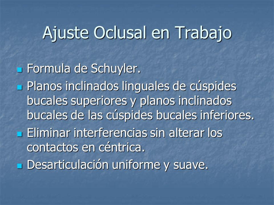Ajuste Oclusal en Trabajo Formula de Schuyler.Formula de Schuyler.