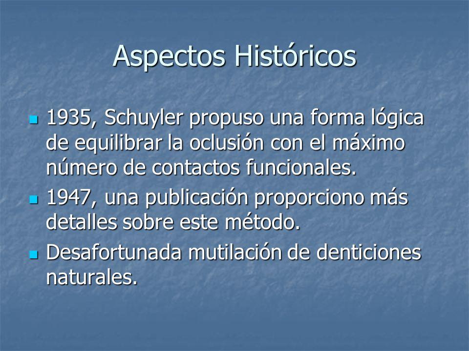 Aspectos Históricos 1935, Schuyler propuso una forma lógica de equilibrar la oclusión con el máximo número de contactos funcionales.