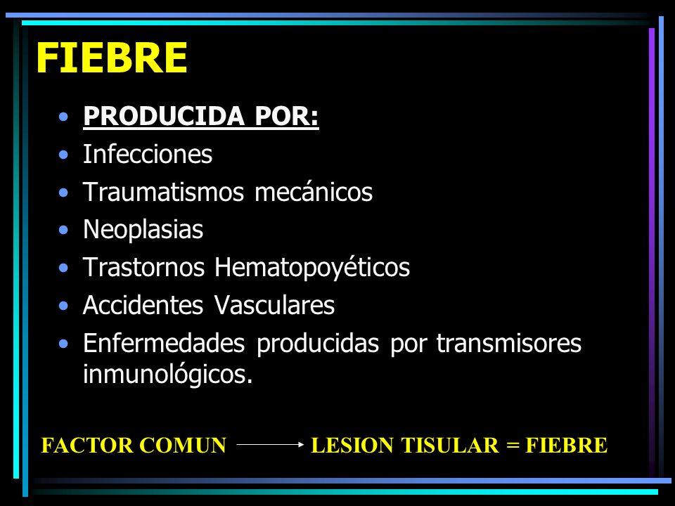 FIEBRE PRODUCIDA POR: Infecciones Traumatismos mecánicos Neoplasias Trastornos Hematopoyéticos Accidentes Vasculares Enfermedades producidas por trans