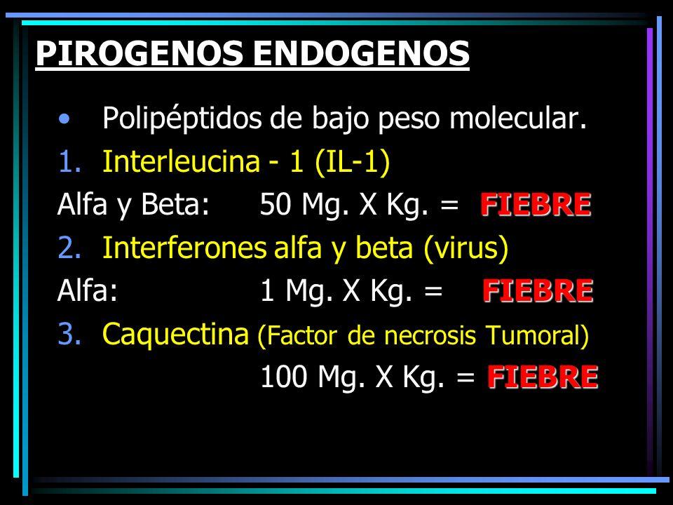 PIROGENOS ENDOGENOS Polipéptidos de bajo peso molecular. 1.Interleucina - 1 (IL-1) FIEBRE Alfa y Beta: 50 Mg. X Kg. = FIEBRE 2.Interferones alfa y bet