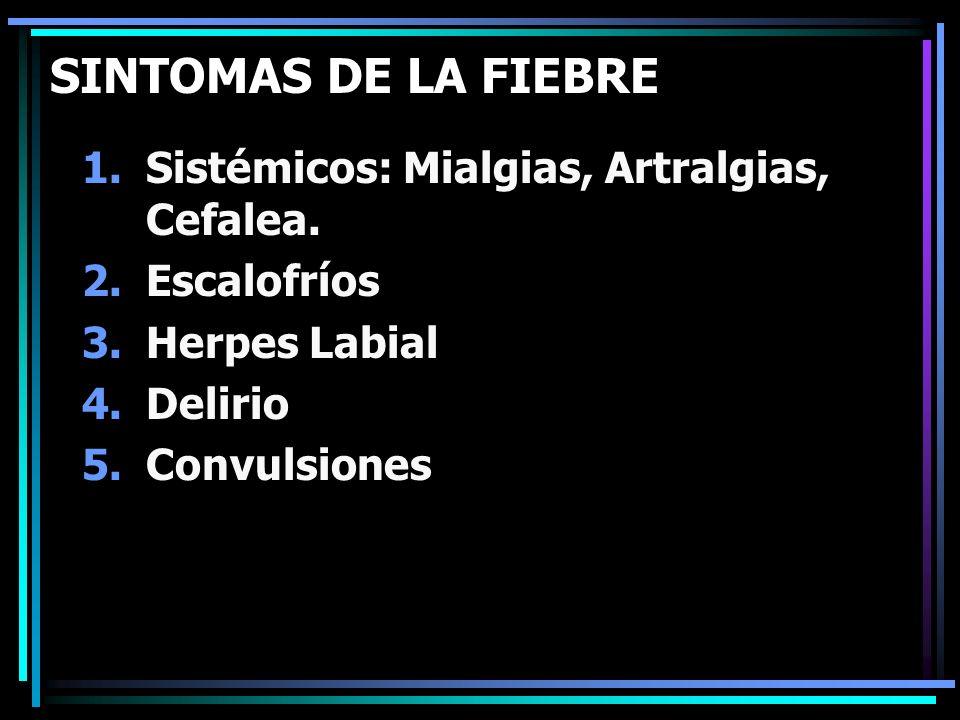 SINTOMAS DE LA FIEBRE 1.Sistémicos: Mialgias, Artralgias, Cefalea. 2.Escalofríos 3.Herpes Labial 4.Delirio 5.Convulsiones