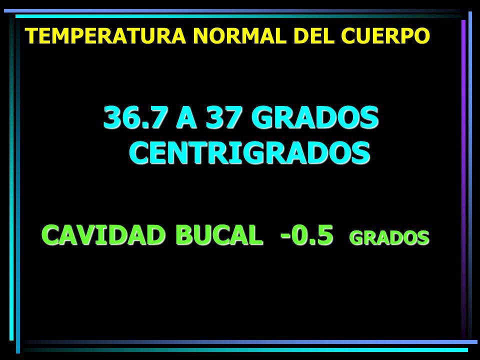 TEMPERATURA NORMAL DEL CUERPO 36.7 A 37 GRADOS CENTRIGRADOS CAVIDAD BUCAL -0.5 GRADOS