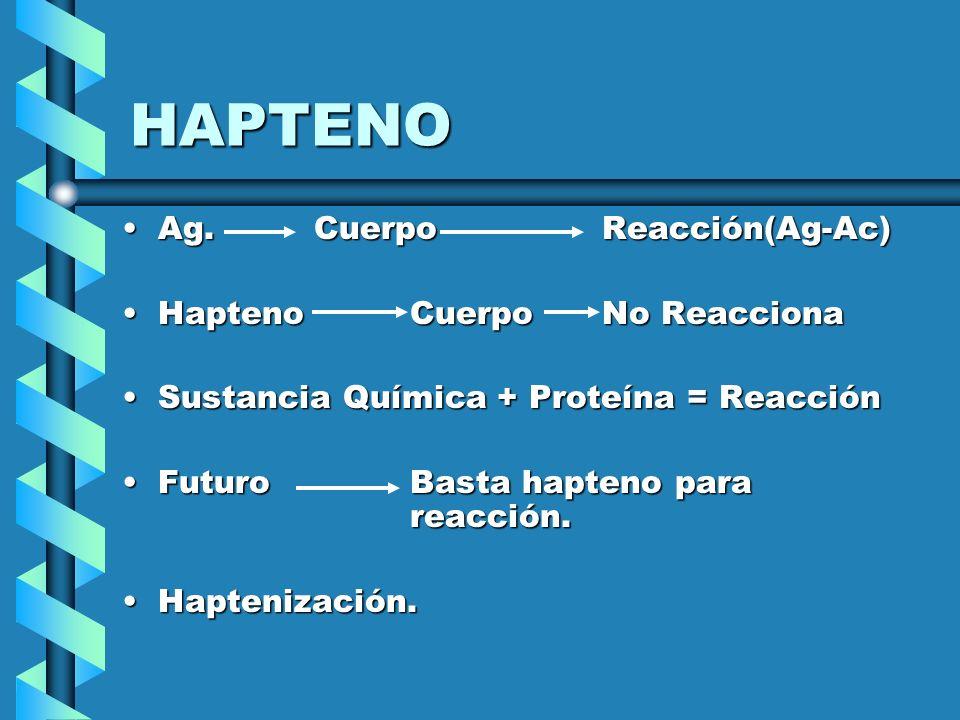 HAPTENO Ag.Ag.CuerpoReacción(Ag-Ac) HaptenoHapteno CuerpoNo Reacciona SustanciaSustancia Química + Proteína = Reacción FuturoFuturo Basta hapteno para