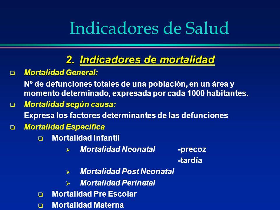 Indicadores de Salud 2.Indicadores de mortalidad Mortalidad General: Nº de defunciones totales de una población, en un área y momento determinado, exp