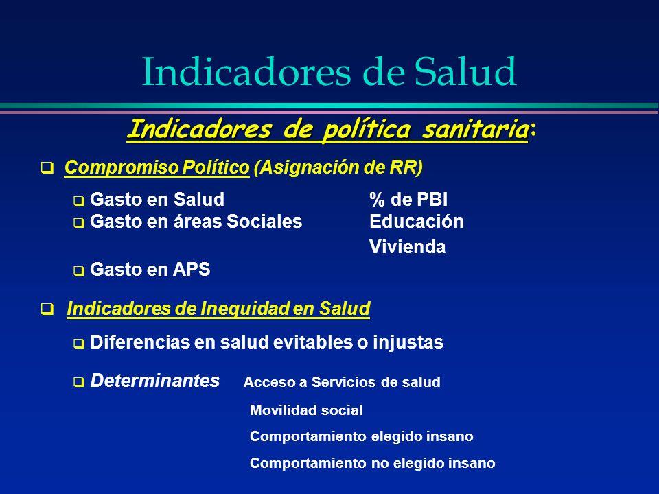Indicadores de política sanitaria Indicadores de política sanitaria: Compromiso Político (Asignación de RR) Gasto en Salud% de PBI Gasto en áreas Soci