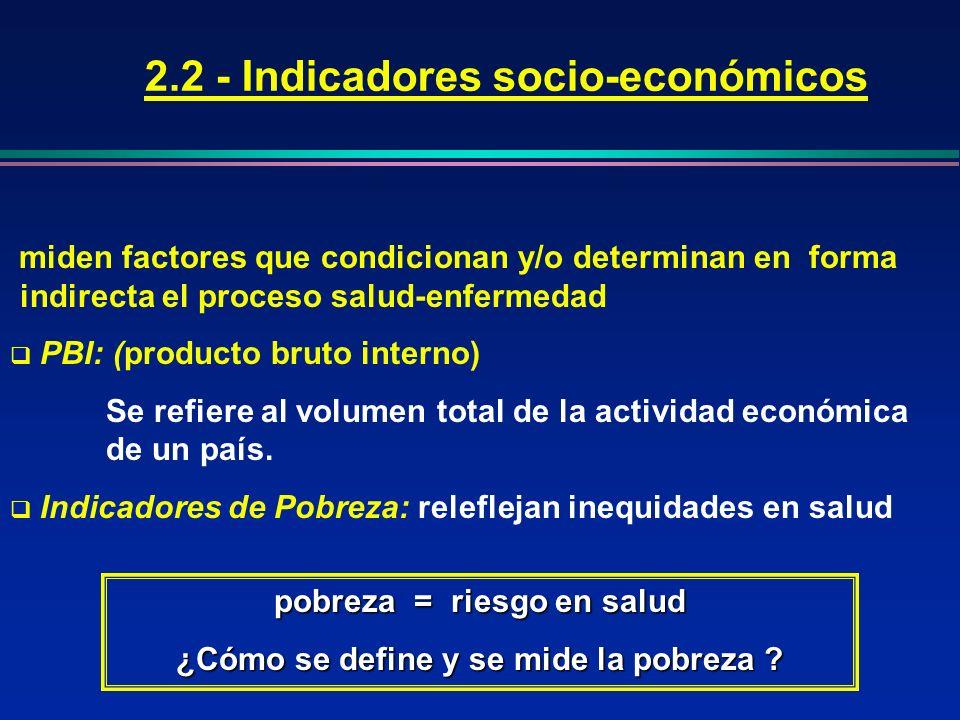 2.2 - Indicadores socio-económicos pobreza = riesgo en salud ¿Cómo se define y se mide la pobreza ? miden factores que condicionan y/o determinan en f