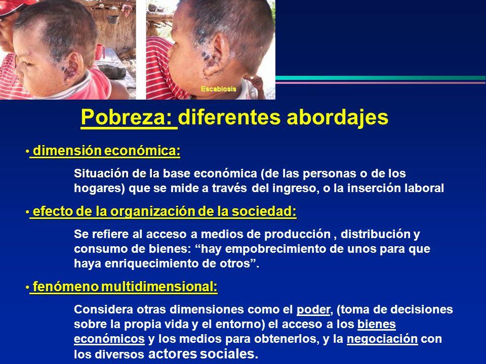 Pobreza: diferentes abordajes dimensión económica: dimensión económica: Situación de la Situación de la base económica (de las personas o de los hogar