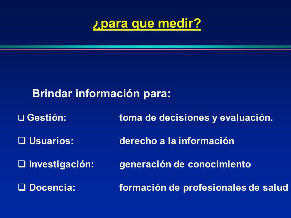Brindar información para: Gestión:toma de decisiones y evaluación. Usuarios:derecho a la información Investigación:generación de conocimiento Docencia