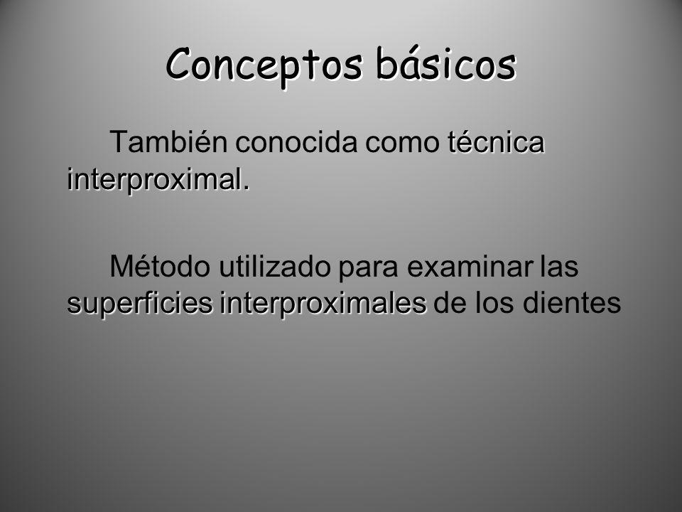 Conceptos básicos técnica interproximal. También conocida como técnica interproximal. superficies interproximales Método utilizado para examinar las s