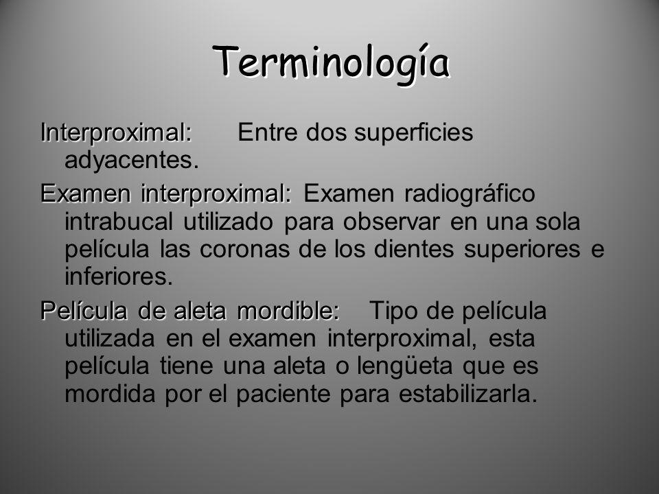 Terminología Interproximal: Interproximal:Entre dos superficies adyacentes. Examen interproximal: Examen interproximal:Examen radiográfico intrabucal