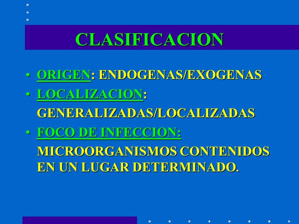 CLASIFICACION ORIGEN: ENDOGENAS/EXOGENASORIGEN: ENDOGENAS/EXOGENAS LOCALIZACION:LOCALIZACION:GENERALIZADAS/LOCALIZADAS FOCO DE INFECCION:FOCO DE INFEC