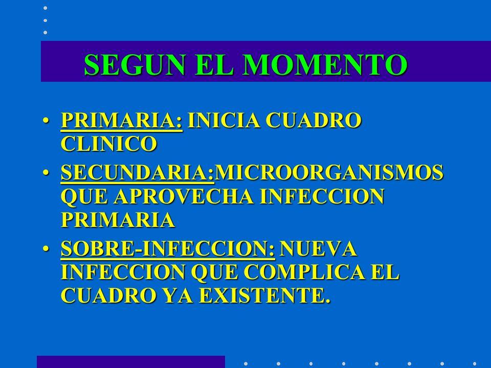 SEGUN EL MOMENTO PRIMARIA: INICIA CUADRO CLINICOPRIMARIA: INICIA CUADRO CLINICO SECUNDARIA:MICROORGANISMOS QUE APROVECHA INFECCION PRIMARIASECUNDARIA: