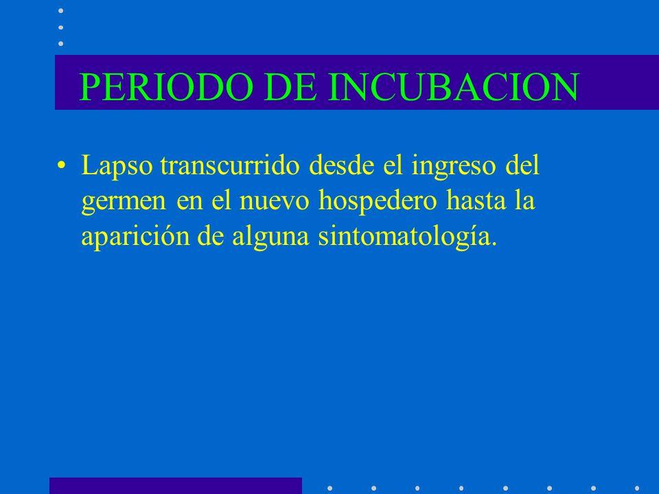 PERIODO DE INCUBACION Lapso transcurrido desde el ingreso del germen en el nuevo hospedero hasta la aparición de alguna sintomatología.