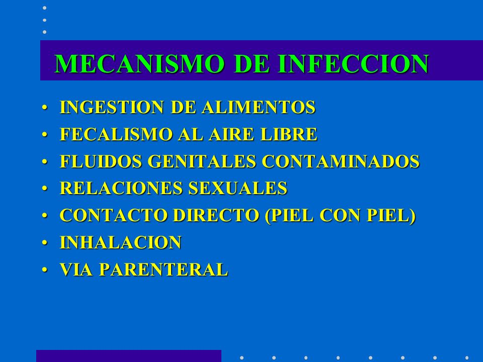 MECANISMO DE INFECCION INGESTION DE ALIMENTOSINGESTION DE ALIMENTOS FECALISMO AL AIRE LIBREFECALISMO AL AIRE LIBRE FLUIDOS GENITALES CONTAMINADOSFLUID