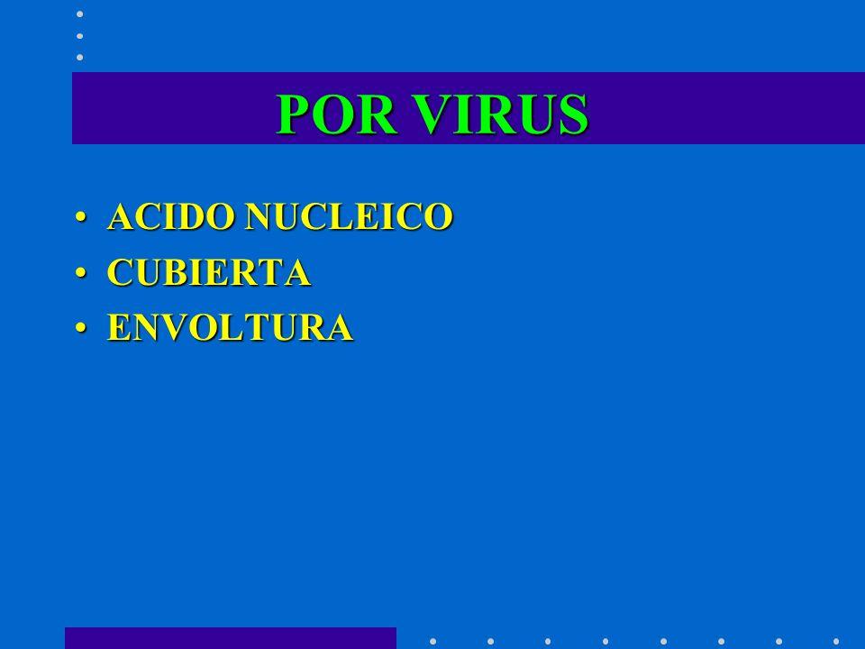 POR VIRUS ACIDO NUCLEICOACIDO NUCLEICO CUBIERTACUBIERTA ENVOLTURAENVOLTURA