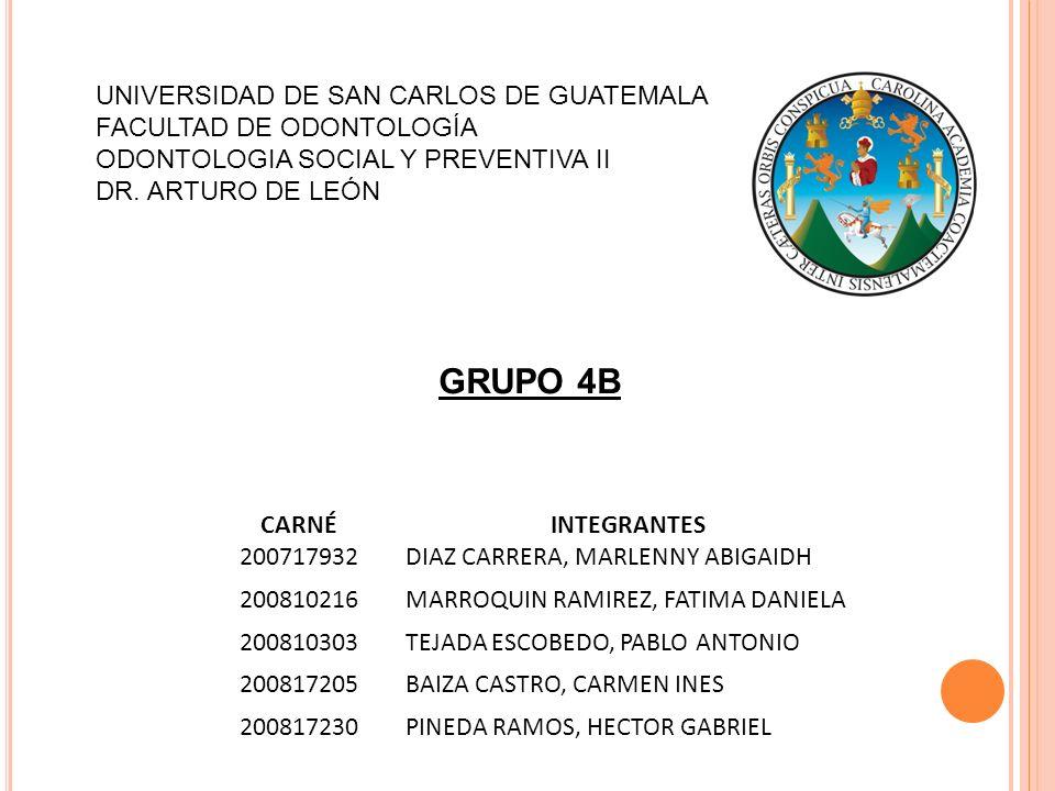 UNIVERSIDAD DE SAN CARLOS DE GUATEMALA FACULTAD DE ODONTOLOGÍA ODONTOLOGIA SOCIAL Y PREVENTIVA II DR.