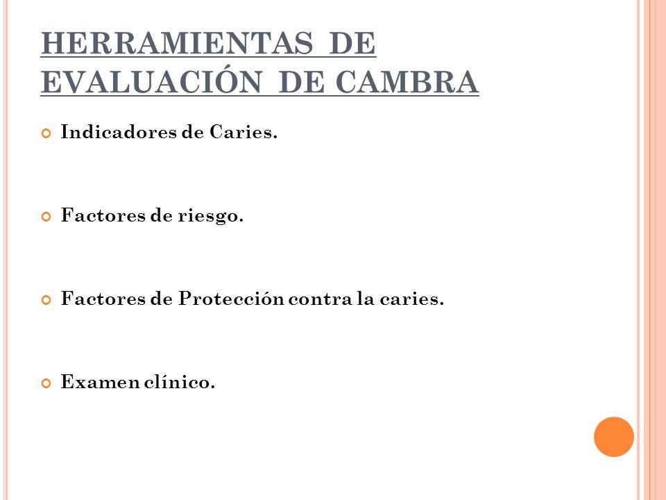HERRAMIENTAS DE EVALUACIÓN DE CAMBRA Indicadores de Caries.
