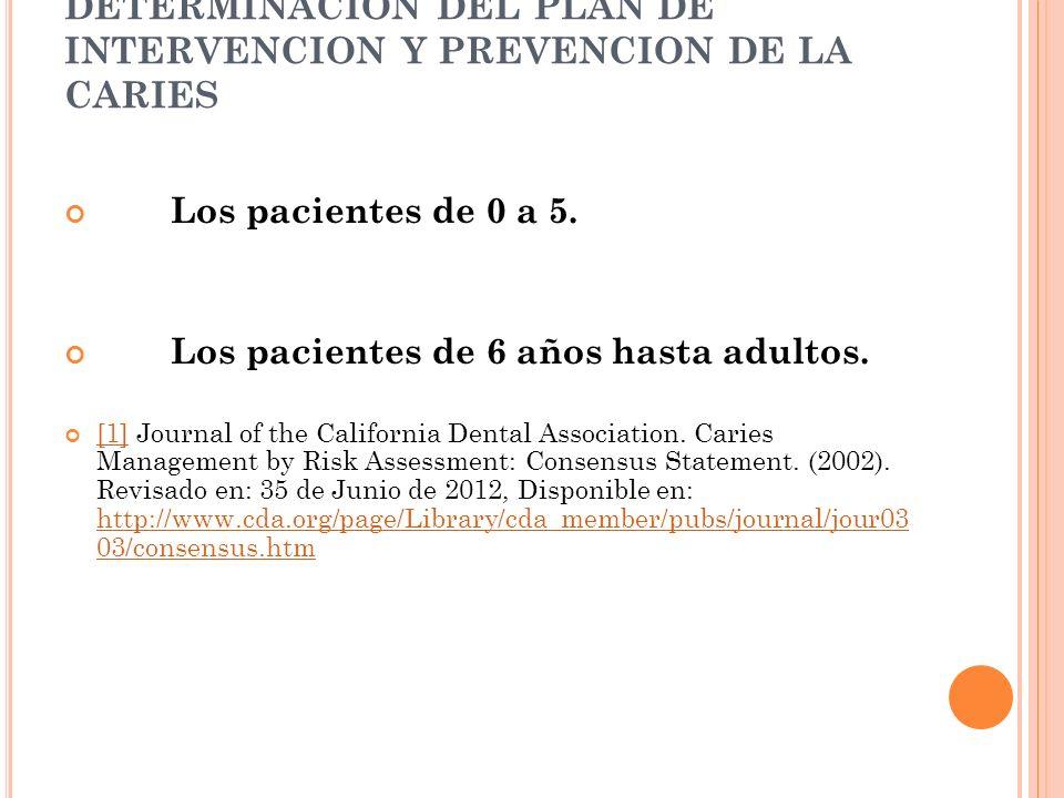 DETERMINACION DEL PLAN DE INTERVENCION Y PREVENCION DE LA CARIES Los pacientes de 0 a 5.