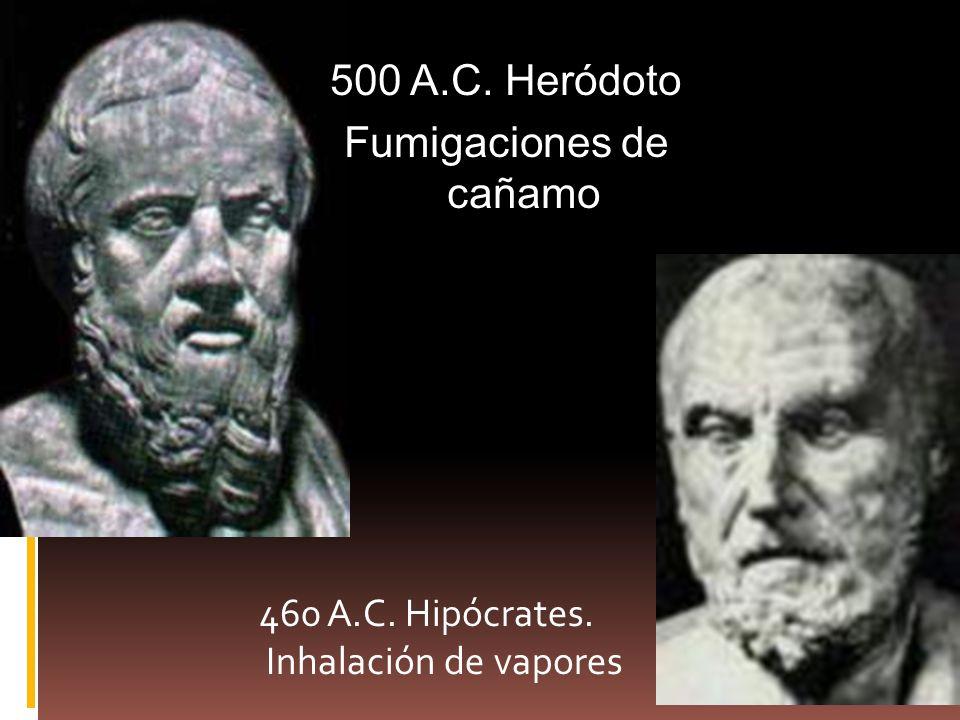 460 A.C. Hipócrates. Inhalación de vapores 500 A.C. Heródoto Fumigaciones de cañamo