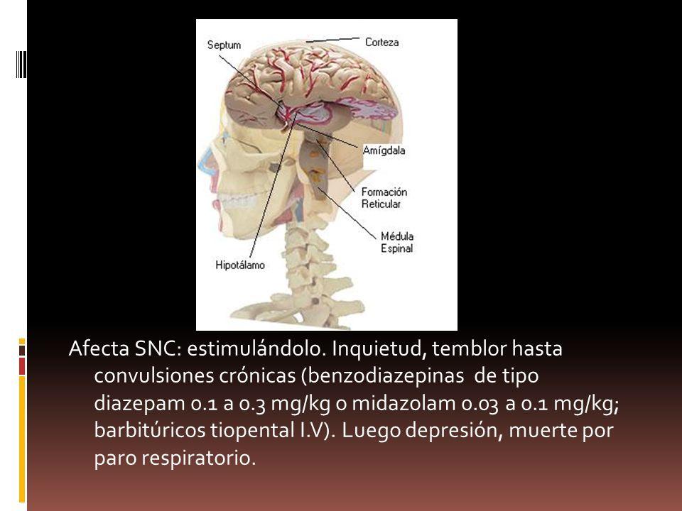 Afecta SNC: estimulándolo. Inquietud, temblor hasta convulsiones crónicas (benzodiazepinas de tipo diazepam 0.1 a 0.3 mg/kg o midazolam 0.03 a 0.1 mg/