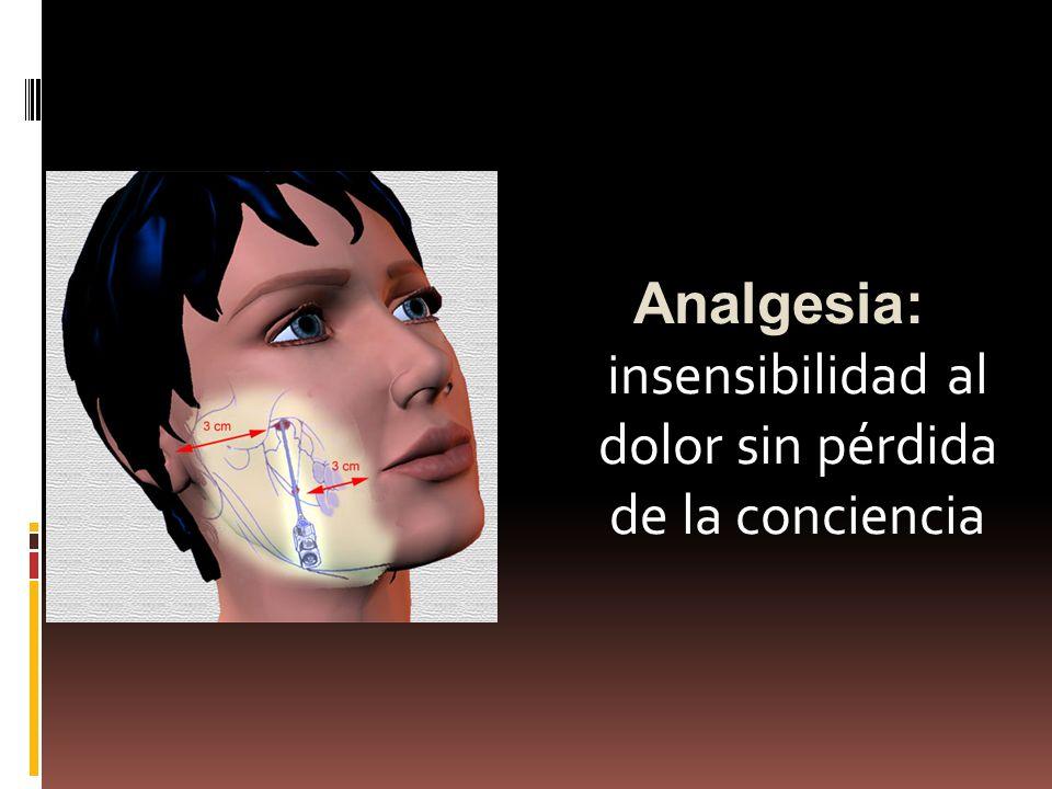 Analgesia: insensibilidad al dolor sin pérdida de la conciencia